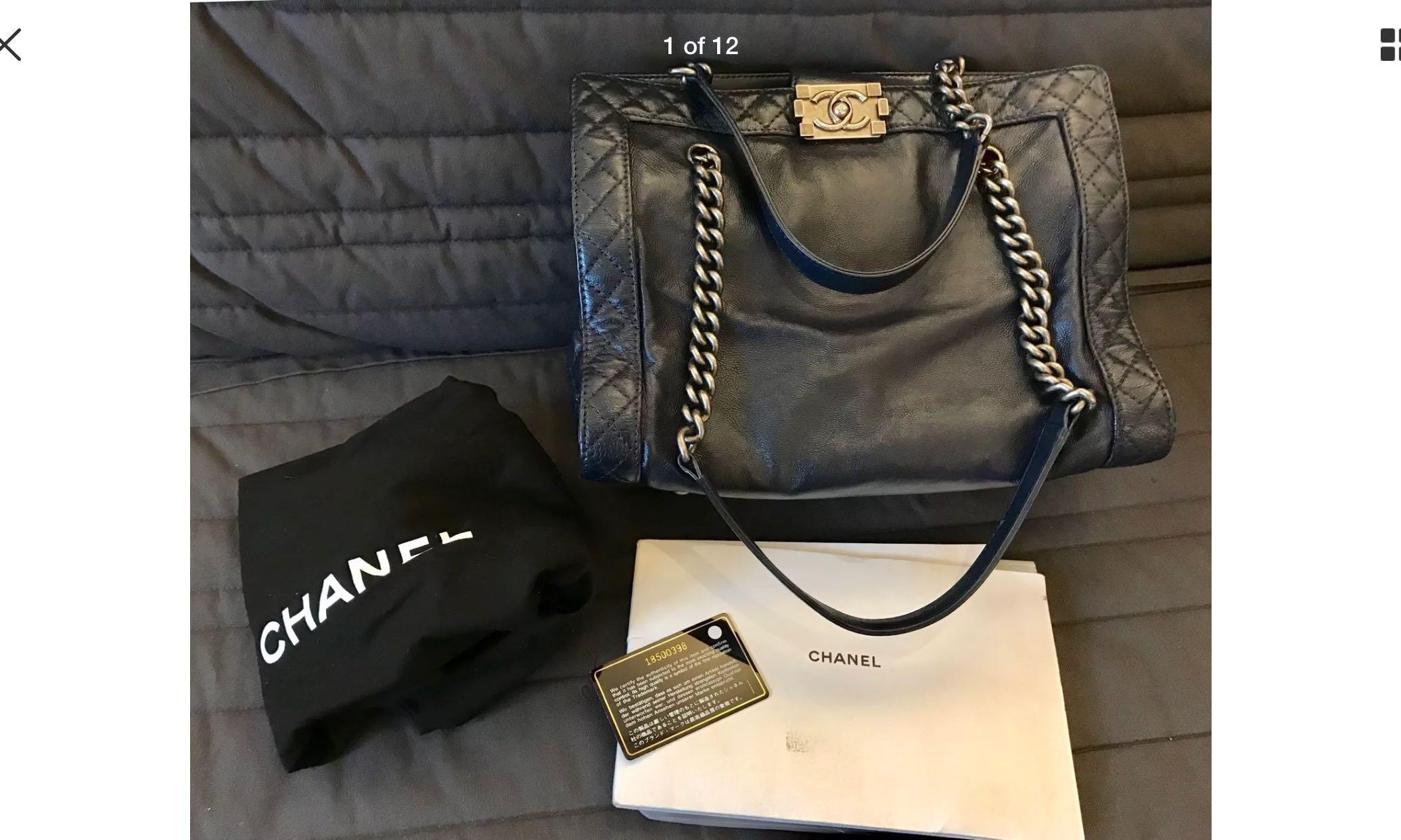 d828610f70e4ed Authentic Chanel Boy bag shopper large tote shoulder, Luxury, Bags ...