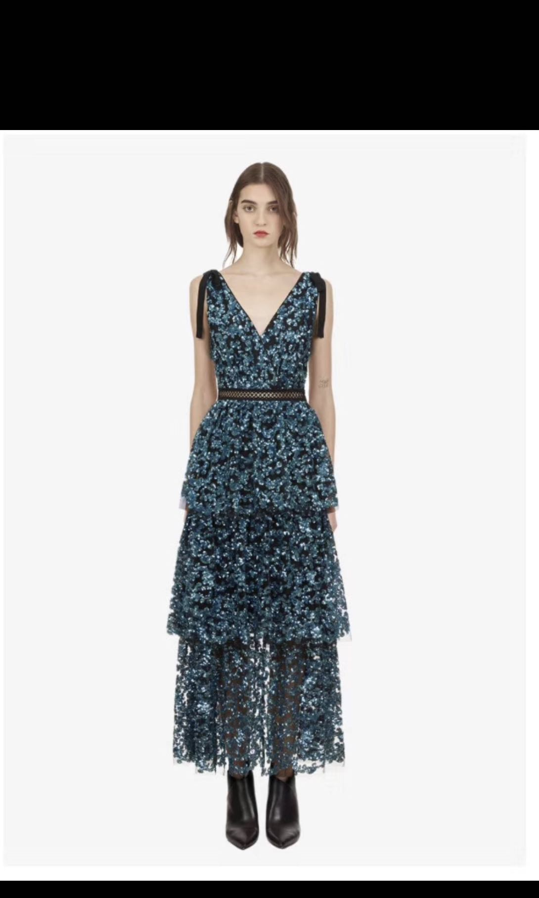 1f602f21ce36 BNWT Authentic Self Portrait Sequin Embroidered Long Dress, Women's  Fashion, Clothes, Dresses & Skirts on Carousell