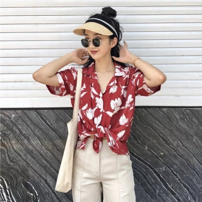 a470344af1bd32 Carousell의 BNWT red tropical oversized floral button up shirt tee top t  ulzzang korean style basic essential floral print hawaiian hawaii