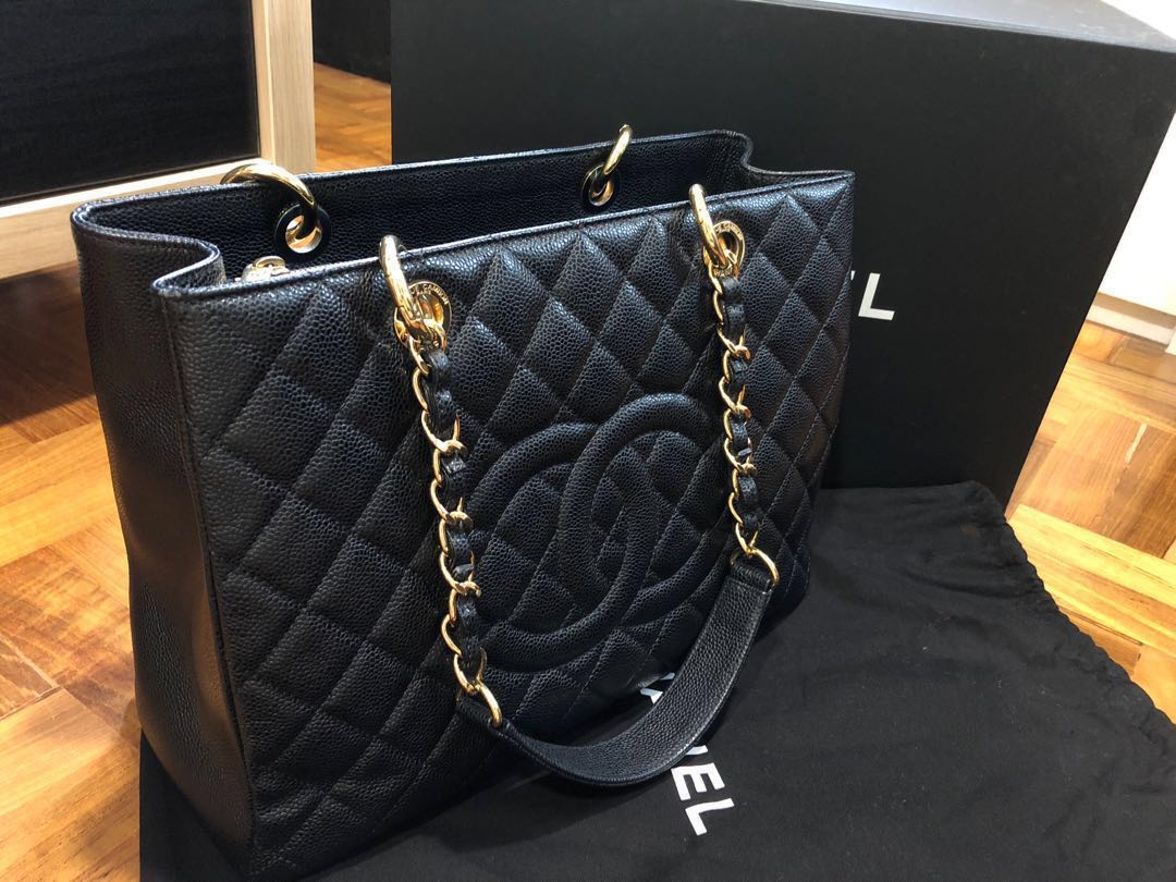ed44e1ab4066 Chanel GST black bag with gold chain