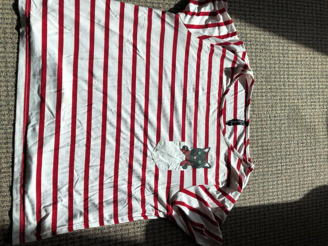 Dangerfield striped Tshirt with cat pocket price reduced