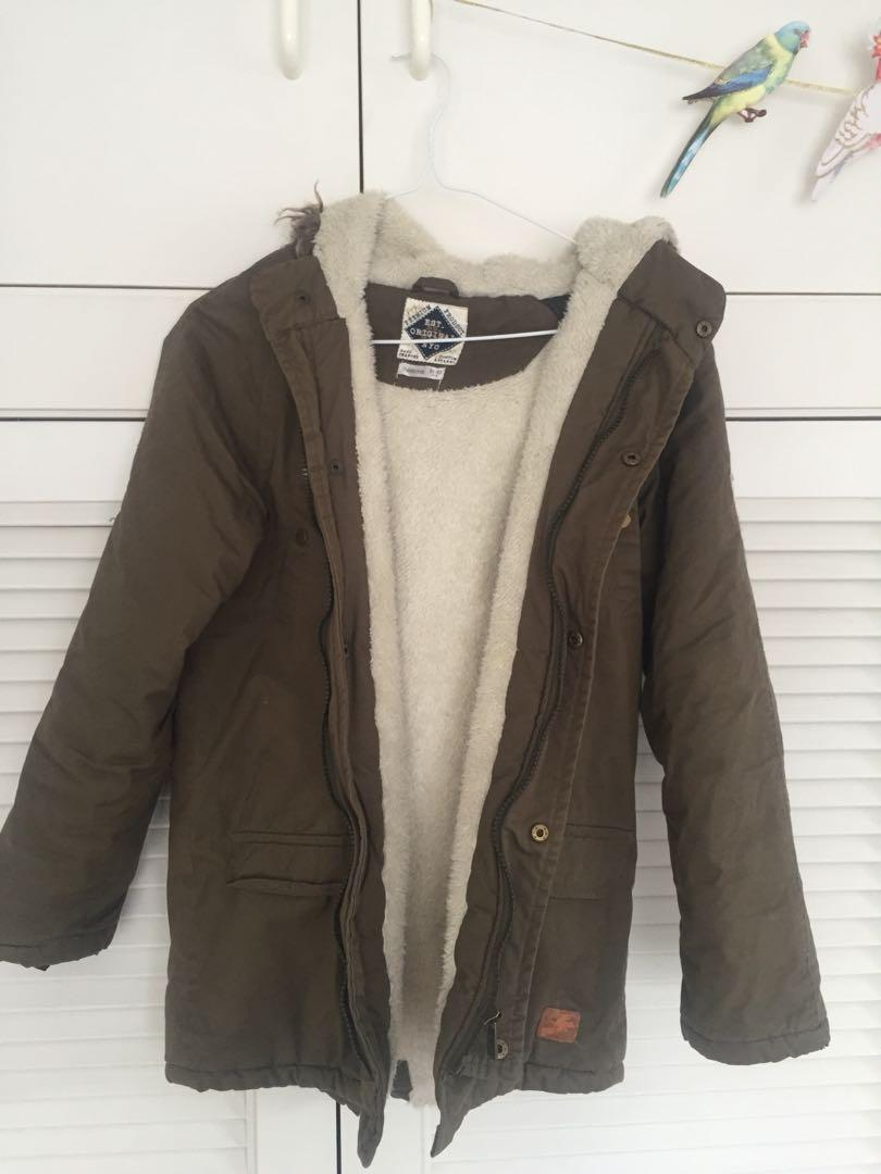 Khaki jacket with fleece inner