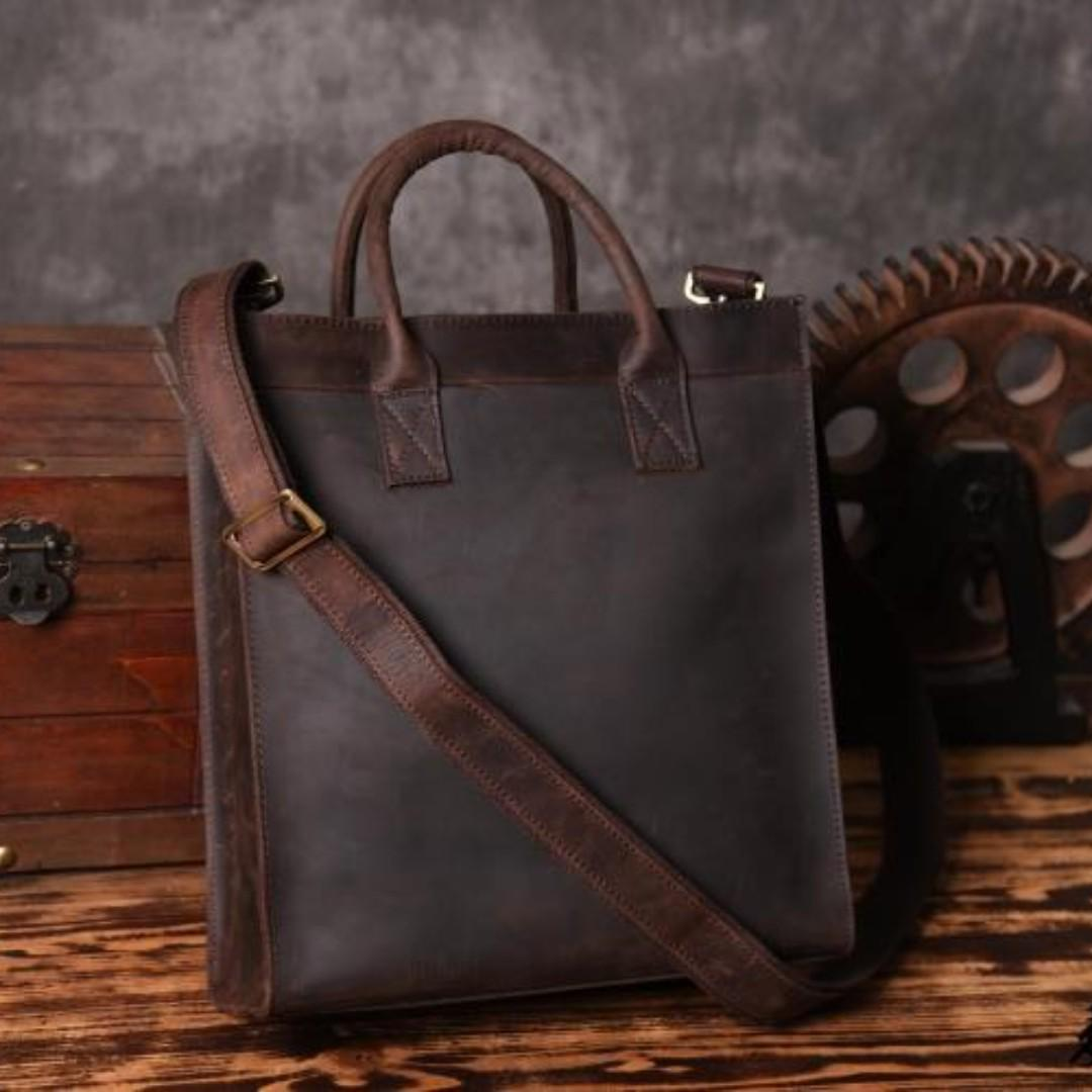 00dec290630f Leather Men's Vertical Tote Bag Shoulder Messenger Bag Business ...