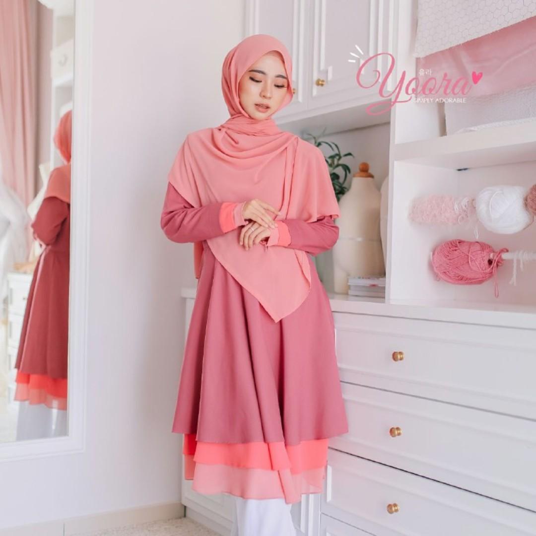 Nursing Friendly Blouse Yoora Pearl Peach Muslimah Fashion Tops On Carou