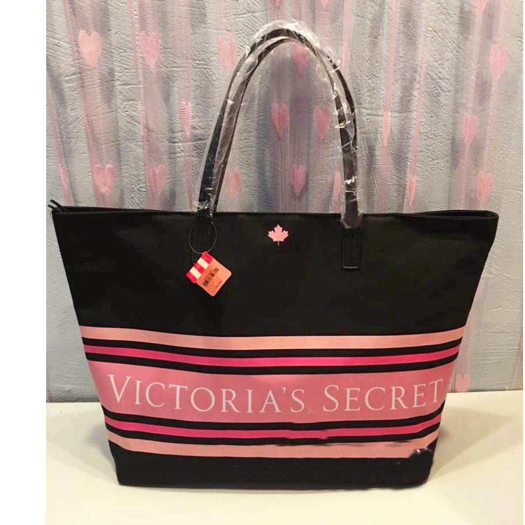 1e6648fdb2a20 ⚡⏰SALE INSTOCK! VS Victoria's Secret Pink Stripes Ornate Shoulder Tote Bag  (Black) PO111500152 + FREE Post!