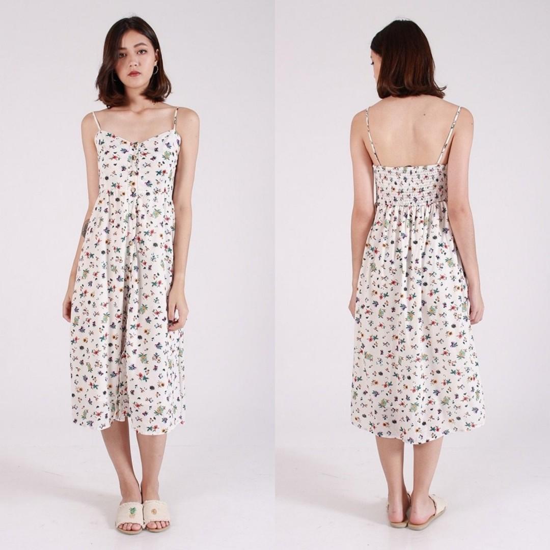 2445b6b4dabd PO] Mini Floral Button Down Midi Dress, Women's Fashion, Clothes ...