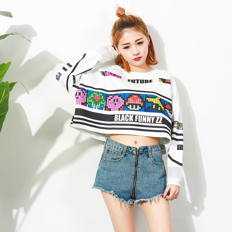 be60d8805 PO] Retro Games Ulzzang Pullover/Sweater, Women's Fashion, Clothes ...