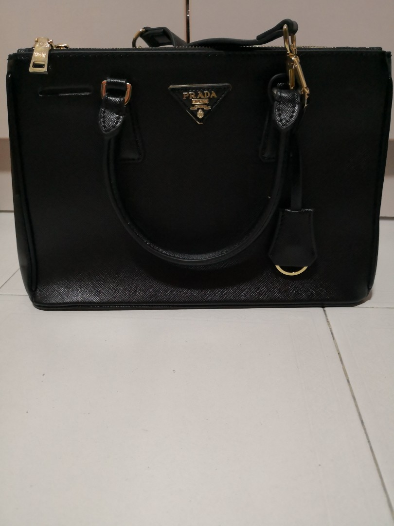 6012b324ac13 Prada Saffiano Double Zip Lux Tote in Black