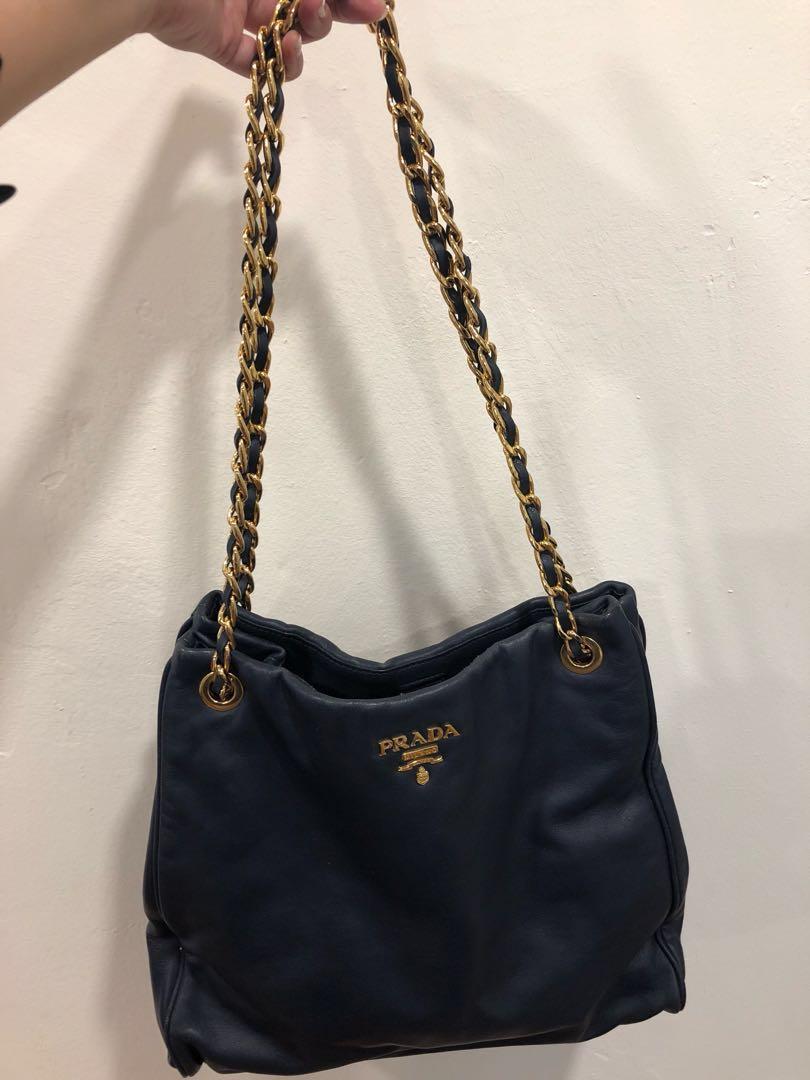a2dd58511ccd Prada soft calf navy blue baltico gold chain Bag BR4994