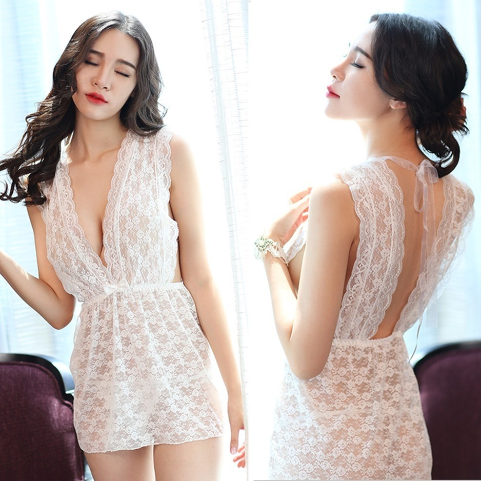 READY STOCK  White Lace Babydoll Sleepwear Sexy Lingerie 21071665c1