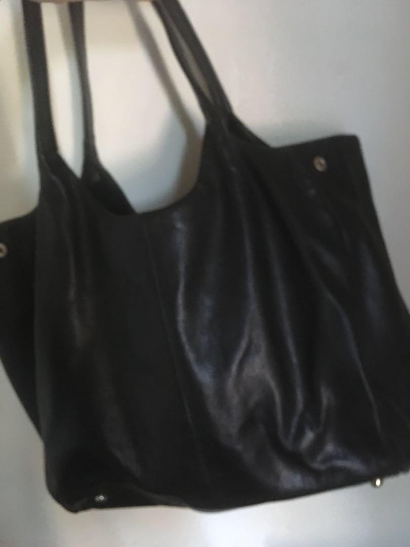 Sportscraft black Leather Bag with Gold hardware