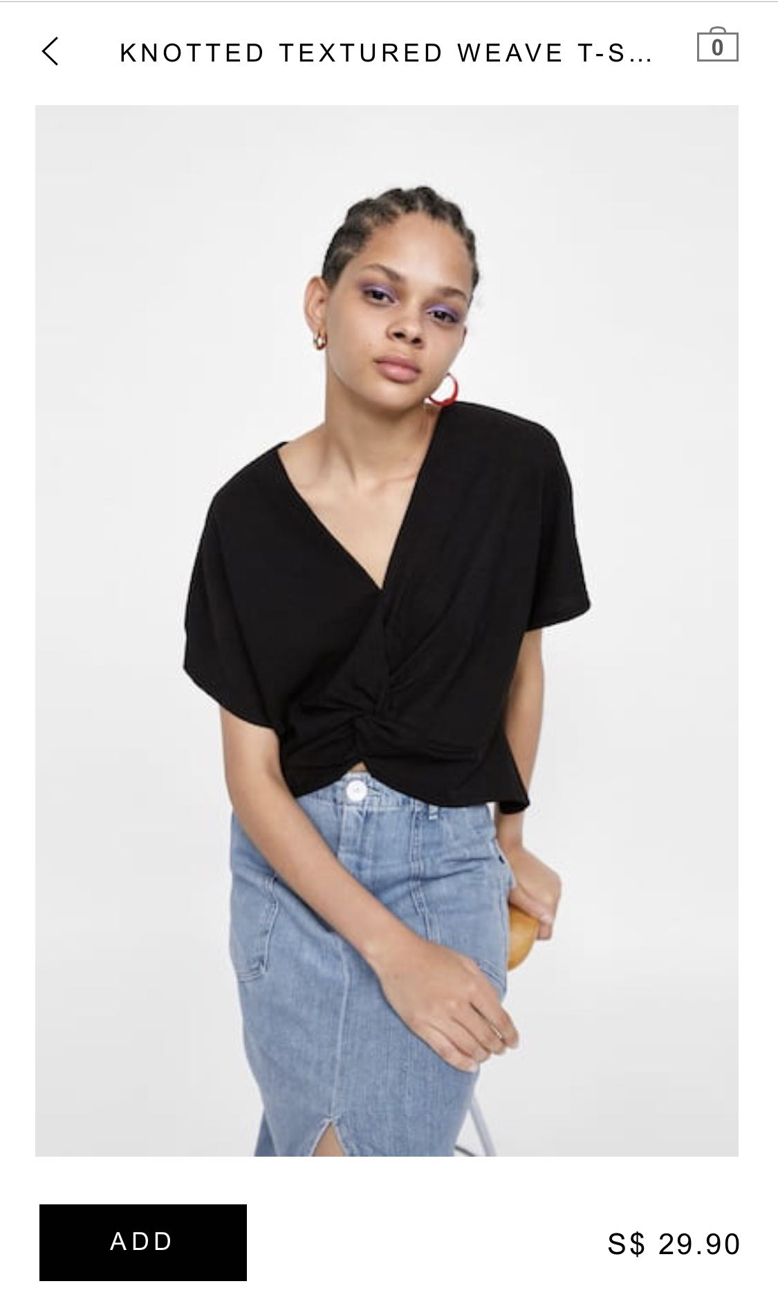 5a994525edb Zara Knotted Textured Weave T-shirt, Women's Fashion, Clothes, Tops ...