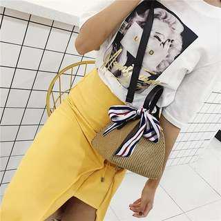 Stripes Ribbon Bow Tie Rattan Sling Bag