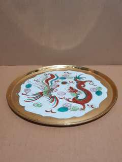 Rare Vintage Porcelain Tea Tray 民国江西顺泰祥龙凤瓷盘 (Diameter Approx. 25.3cm)