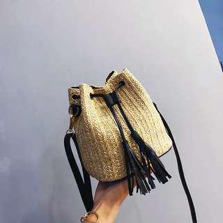 Vintage Straw Bucket Sling Bag