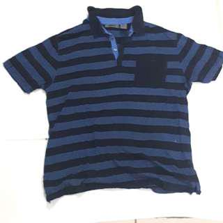 Original DKNY blue black striped polo shirt