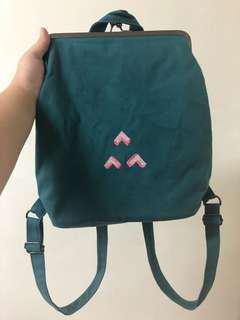 幾何圖案帆布後背包
