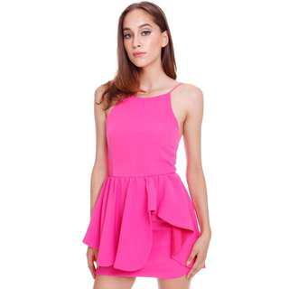 MDS Posh Skirting Dress in Hot Pink Size M