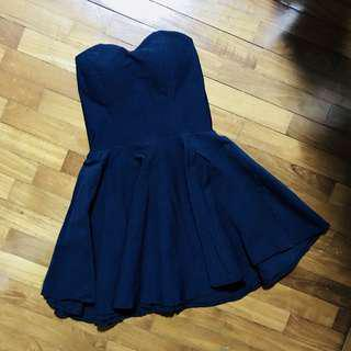 Navy Blue Padded Tube Dress
