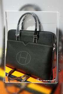 Hermes Man's Black Briefcase Original Calf Leather 男士商務黑色牛皮公事包