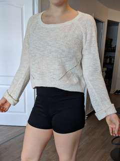 Creme cropped knit sweater (Anthropology)