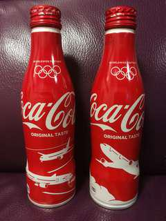可口可樂 Coca Cola 日航 JAL 慶祝東京奧運2020鋁樽一套兩枝(非賣品 從未公開發售)