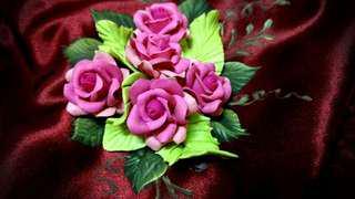 手繪 陶花 玫瑰 緞面 高貴婉約小包