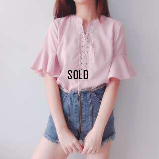 Lace Up Flutter Sleeve Relaxed Blouse (Pink) -SOLD-