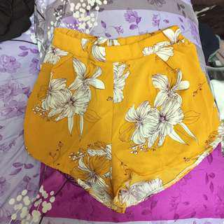 Mustard Floral Abstract Shorts