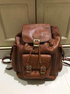 Brown Leather backpack from Italy