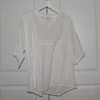 White Embroidered Linen Shirt