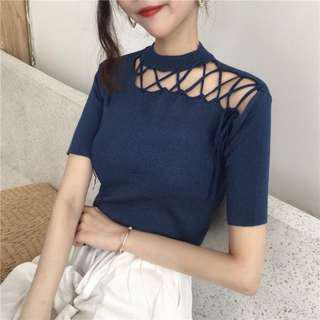 Criss Cross Shimmer Side Knit Top in Blue