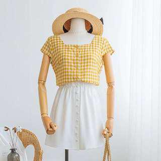 Yellow Plaid Square Neck Button Down Linen Top