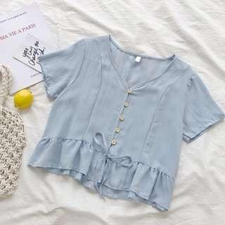 Ruffle Hem Linen Button Down Top in Sky