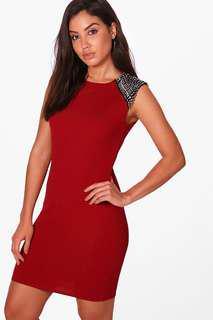 Boohoo Studded Shoulder Bodycon Dress - Size 10