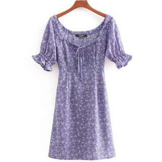 Floral Dots Drawstring Dress in Periwinkle