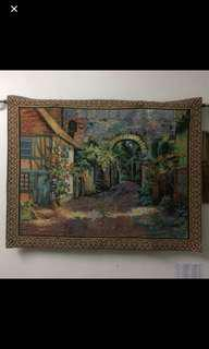 Wall tapestry with steel rod