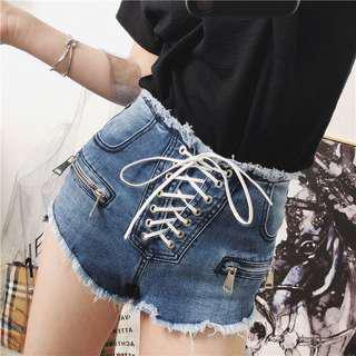 Lace Up Highwaist Denim Shorts
