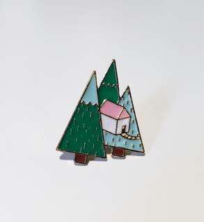 Trees+House Enamel pin