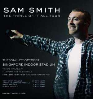 Sam Smith CAT 3 Tickets x 2 for OCT 2