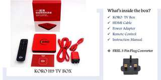 KORO H9 TV BOX - Worldwide Digital TV Box, No IP Restrictions, Lifetime free without any subscription fee, 1 Year Warranty