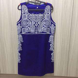 Embroidered Blue Dress