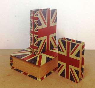 Union Jack book boxes set of 3