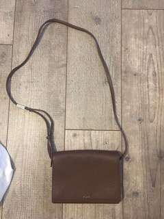 Aritzia auxiliary brown leather crossbody calisch purse