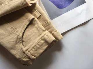 韓國 卡其色合身短裙