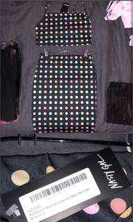 BNWT Nasty Val Rainbow Polka Dot Crop & Mini Skirt Set