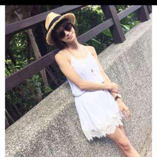 🚚 Lovfee 綁帶蕾絲洋裝 白色s #畢業兩百元出清
