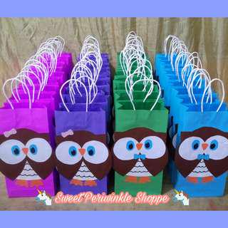 MTO: Owl Loot Bags / Cupcake Topper / Cake topper