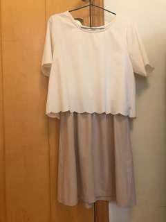 Beige white two tone dress 斯文連身裙 包郵