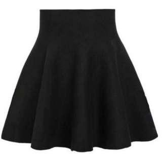 Ladies' Plain Black High Waist Skirt